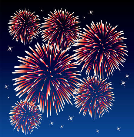 vector red fireworks background  Vector