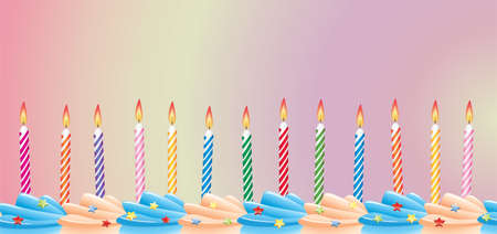 row of birthday candles on cake Stock Vector - 7051473