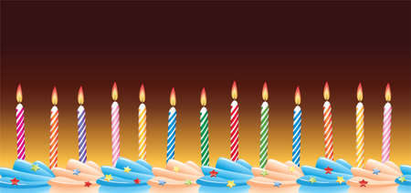 row of birthday candles on cake Stock Vector - 7051475