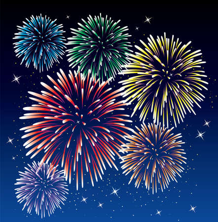 fireworks background Stock Vector - 7051477