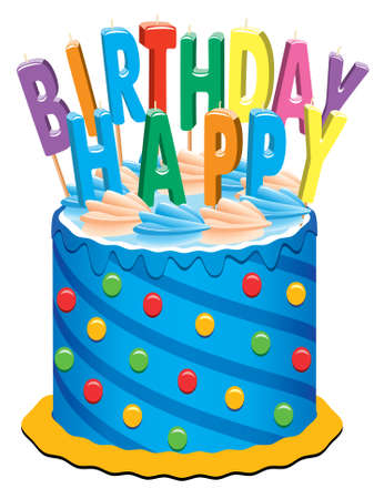 birthday cake with candles Stock Vector - 7051472