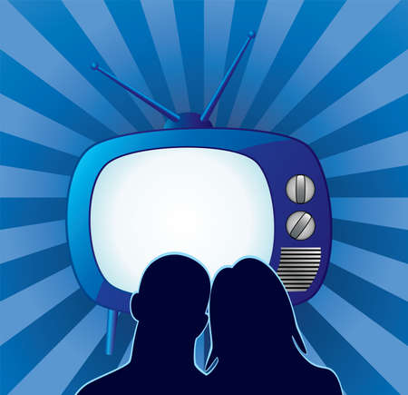 home entertainment:  couple watching retro tv set