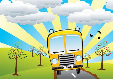school bus and retro landscape Vector