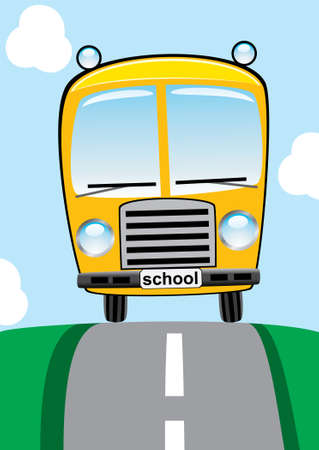 school bus on the road Vector