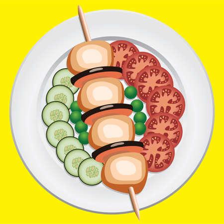 cucumber salad: pollo a la parrilla y verduras