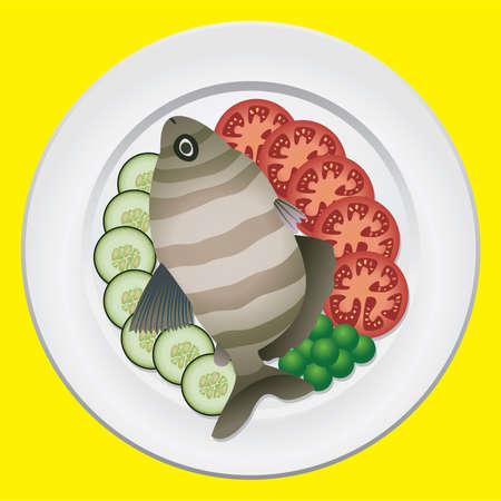 pesce cotto: pesci cotti e verdure crude su una piastra di  Vettoriali