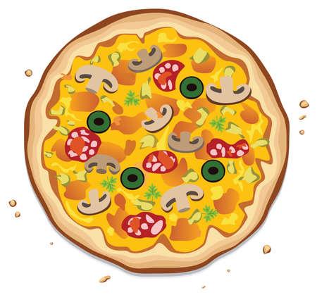 pizza ingredients: italian pizza on white background Illustration