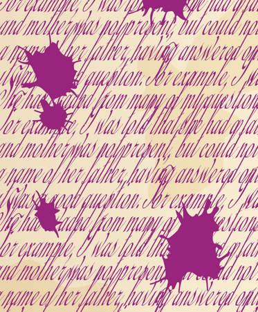 handwritten text with blots Vector
