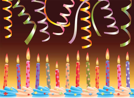row of birthday candles on cake and streamers Stock Vector - 7163339