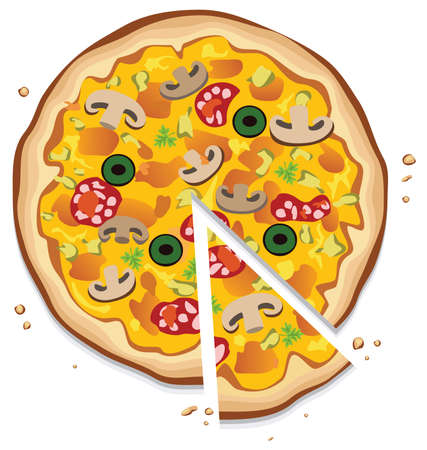 pizza ingredients:  italian pizza with a slice, on white background Illustration