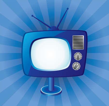 blue retro tv set Stock Vector - 7163331