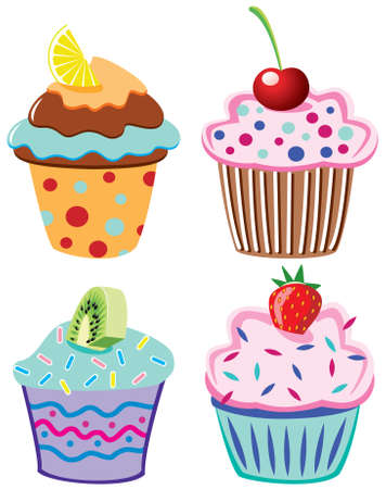 spotty: cupcakes with fruits