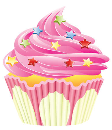 home baked: vector pink cupcake with sprinkles