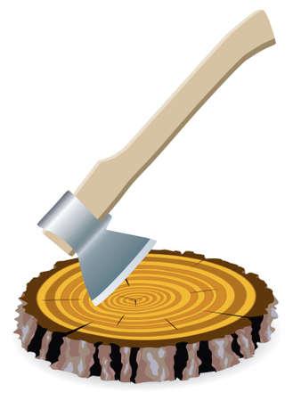 wooden work: illustrazione di ascia e un taglio di legno