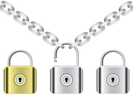 chain and locks Vector