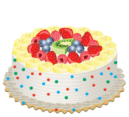 delicious cream cake with fruits Vector