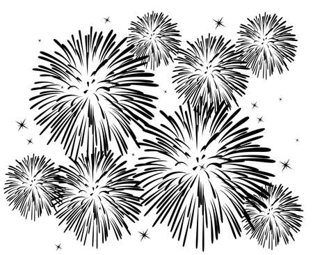 black and white fireworks background Vector