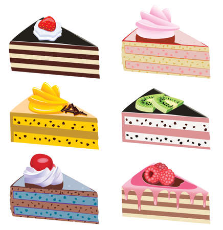 cake illustration: cake slices with fruits and chocolate Illustration