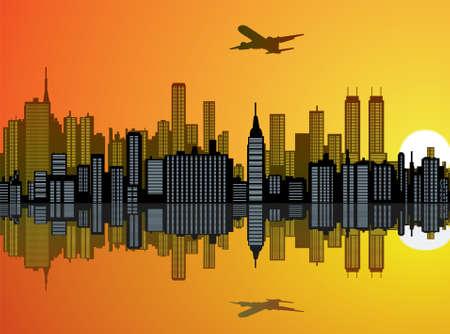 Stadt-Hintergrund mit Spiegelbild im Wasser  Illustration