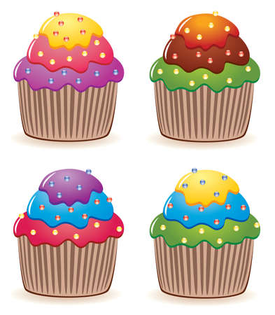 colorful cupcakes with sprinkles Vector