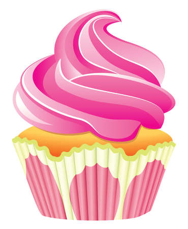 cupcake illustration: pink cupcake