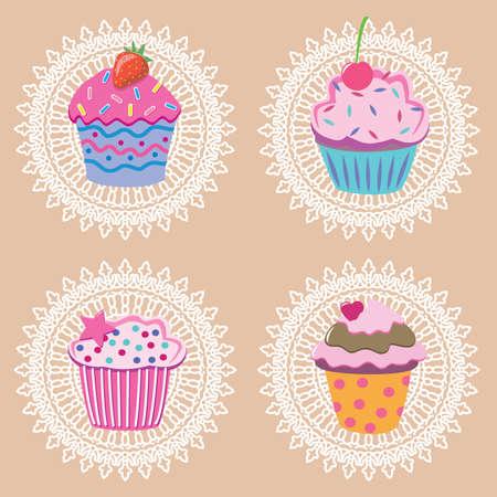 sprinkles: retro cupcakes Illustration