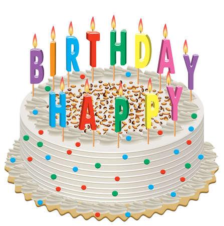happy birthday cake: pastel de cumplea�os con la grabaci�n de velas  Vectores