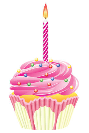 cupcake with burning candle and sprinkles Vector