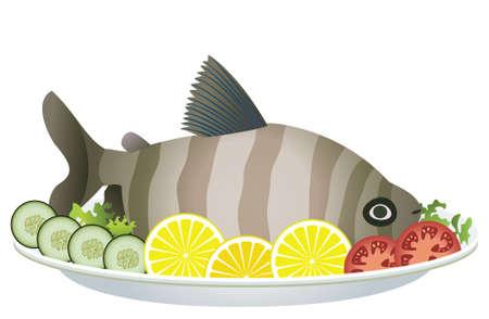 plato de comida: pescados cocidos y verduras crudas sobre una placa