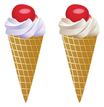 vector fruit icecream cones with cherries Vector