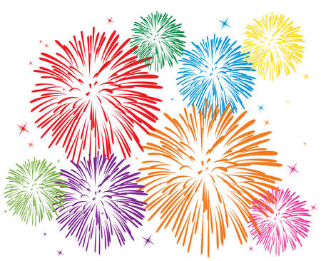firework: vector colorful fireworks on white background Illustration