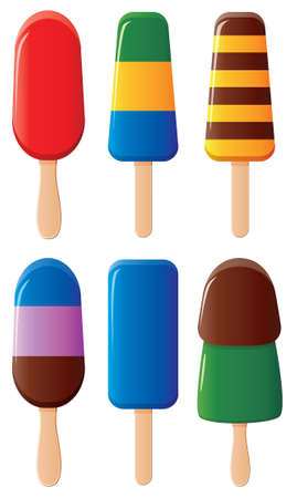 popsicle: vector various fruit and chocolate popsicles Illustration