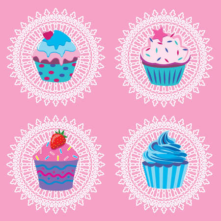 sprinkle: vector retro cupcakes Illustration