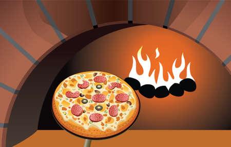 vector Italiaanse pizza en een brand hout oven