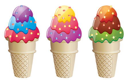 frozen food: colorful ice cream cones with sprinkles Illustration