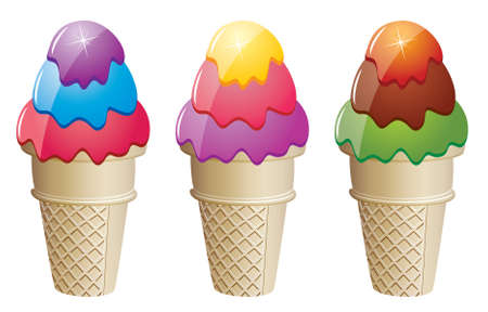 colorful ice cream cones Stock Vector - 7301329