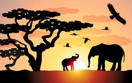 elephants in africa Stock Vector - 7301326