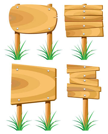 wooden elements and grass Vector