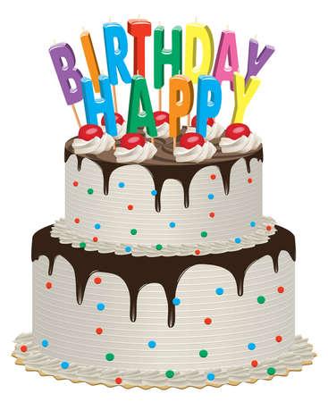 velas de cumplea�os: delicioso pastel de chocolate con cerezas, crema y cumplea�os velas