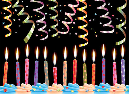 row of birthday candles on cake and streamers Stock Vector - 7333979