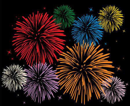 night fireworks: colorful fireworks on black background