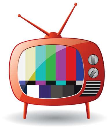 tv retro: red retro tv set Illustration