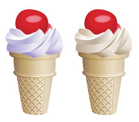 fruit ice cream cones with cherries Stock Vector - 7334005