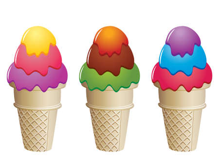 frozen food: colorful ice cream cones Illustration