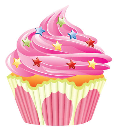 home baked: pink cupcake with sprinkles Illustration