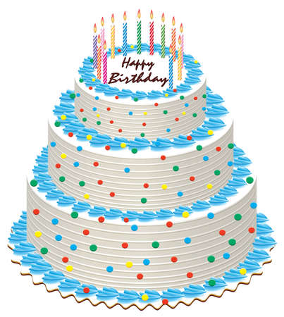 pink cake: big illustration of birthday cake with burning candles Illustration