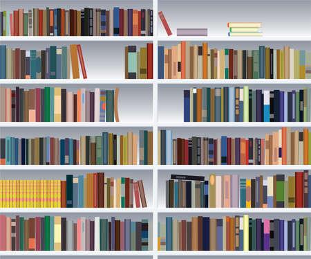 in library: modern bookshelf
