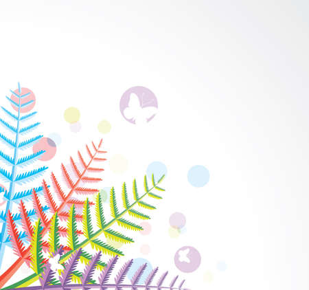 design of colorful fern leaves Vector