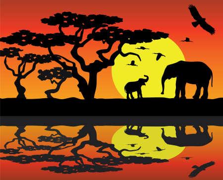 large group of animals: elefante de la madre y el beb� elefante en �frica cerca del agua  Vectores