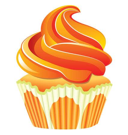 orange cupcake Stock Vector - 7393370